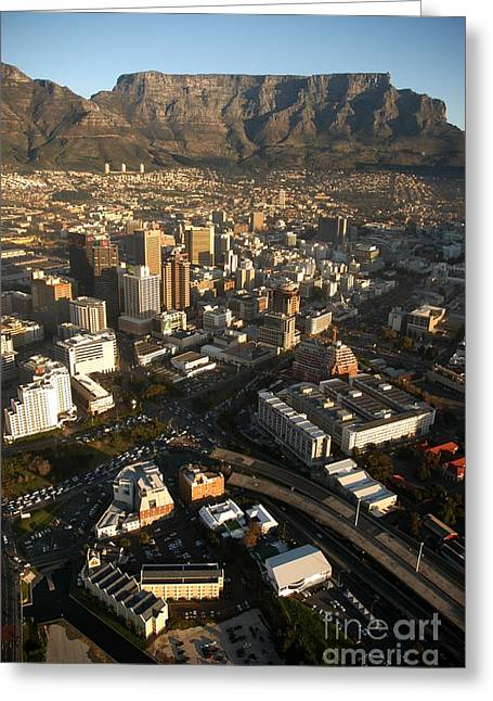 Cape Town Greeting Cards - Cape Town from the air Greeting Card by Andy Smy