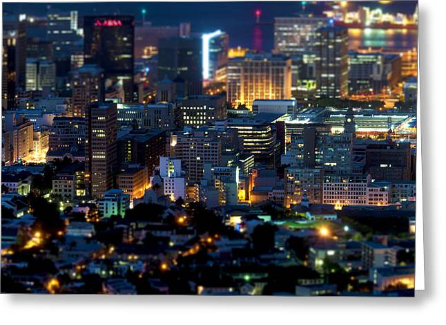 Cape Town Greeting Cards - Cape Towns Tilt Shift  Greeting Card by Fabrizio Troiani
