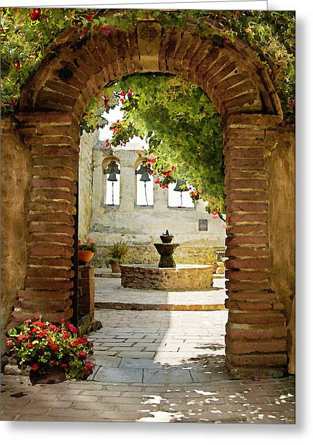 Fountain Greeting Cards - Capistrano Gate Greeting Card by Sharon Foster