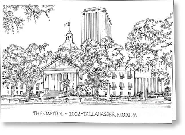 Confederate Flag Drawings Greeting Cards - Capitol 2002 Tallahassee Greeting Card by Audrey Peaty
