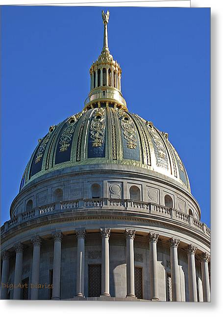 Gilding Greeting Cards - Capitol Dome Charleston WV Greeting Card by DigiArt Diaries by Vicky B Fuller