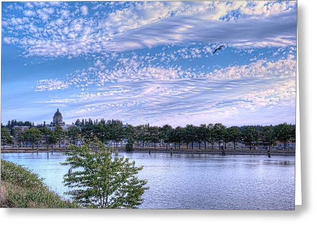 Olympia Washington Greeting Cards - Capitol Dome from Budd Inlet Greeting Card by Dan McManus