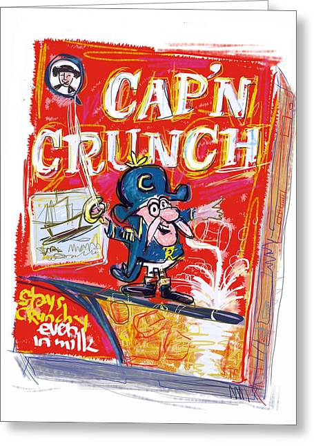 Mustaches Mixed Media Greeting Cards - Capn Crunch Greeting Card by Russell Pierce