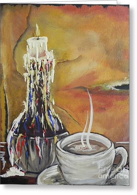 Chianti Bottle Greeting Cards - Cappuccino by Candlelight Greeting Card by Patti Spires Hamilton