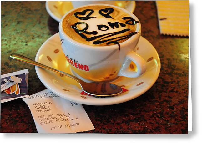 Capuccino Greeting Cards - Cappuccino in Rome Greeting Card by Srikanth Srinivasan