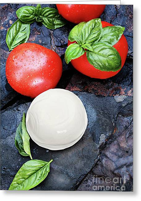 Mozzarella Greeting Cards - Caprese Greeting Card by Stephanie Frey