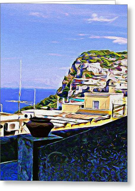 Vacation Digital Art Greeting Cards - Capri Italy Greeting Card by Mindy Newman