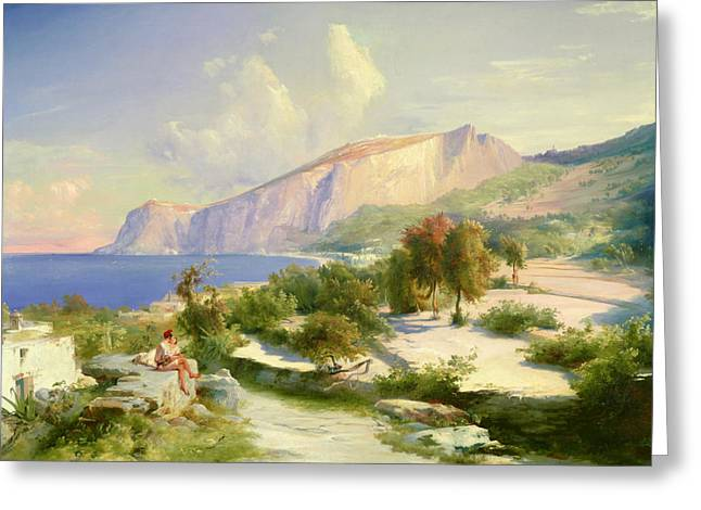 Italian Landscapes Greeting Cards - Capri Greeting Card by Karl Blechen