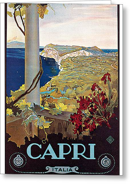 Italian Landscapes Greeting Cards - Capri Greeting Card by Mario Borgoni