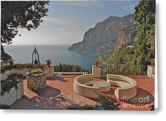 Italian Art Photographs Greeting Cards - Capri panorama Greeting Card by Italian Art