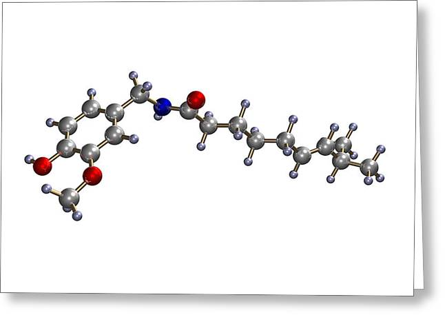 Chilies Greeting Cards - Capsaicin Molecule Greeting Card by Dr Mark J. Winter
