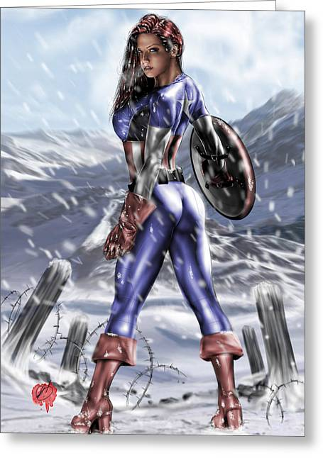 Captain America Paintings Greeting Cards - Captain America Greeting Card by Pete Tapang