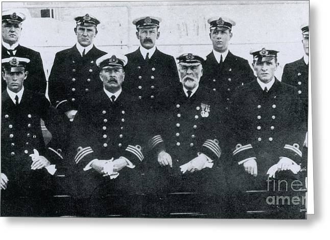 Captain And Officers Of The Titanic Greeting Card by Photo Researchers