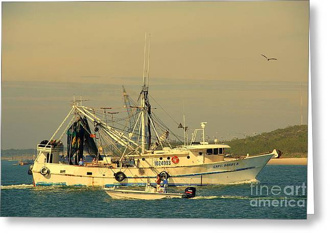 Shrimp Boat Captains Greeting Cards - Captain Bobs Shrimp Boat Greeting Card by Susanne Van Hulst