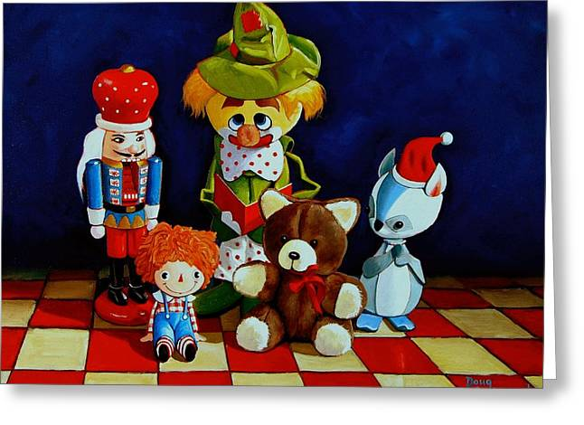 Stuffed Toy Greeting Cards - Captain Candycorns Dollhouse Choir Greeting Card by Doug Strickland
