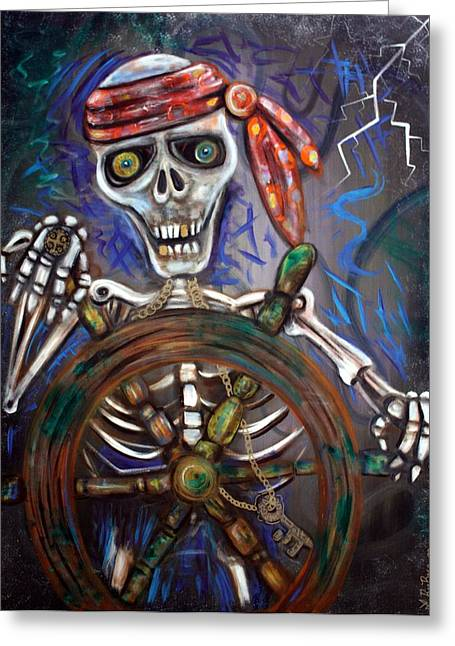 Pirate Ship Greeting Cards - Captain Death Greeting Card by Laura Barbosa
