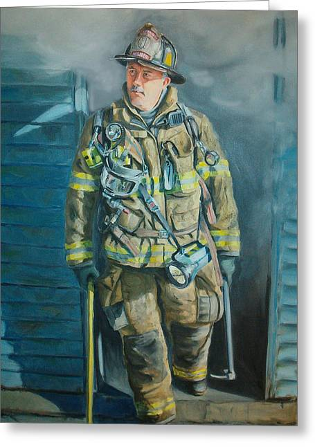 Firefighters Greeting Cards - Captain Harris Greeting Card by Paul Walsh