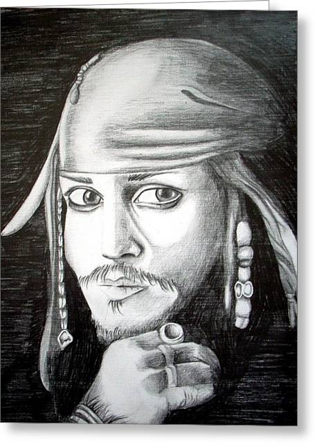 Captain Jack Sparrow Art Greeting Cards - Captain Jack Sparrow Greeting Card by Aoife  Joyce