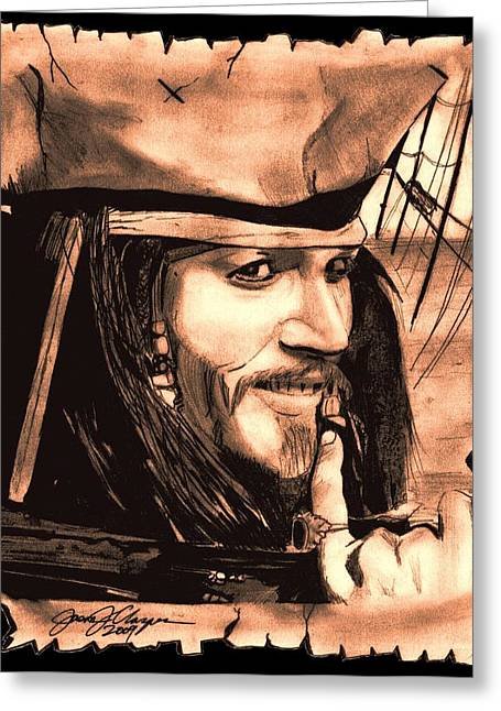 Pirates Drawings Greeting Cards - Captain Jack Sparrow Greeting Card by Jason Kasper