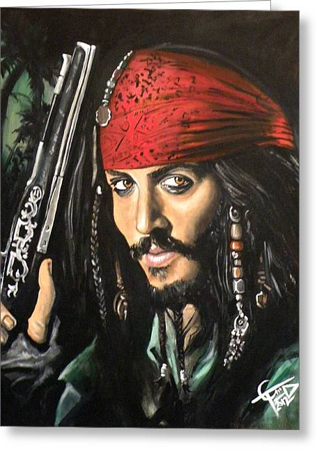 Pirates Paintings Greeting Cards - Captain Jack Sparrow Greeting Card by Tom Carlton