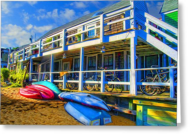 Rowboat Digital Art Greeting Cards - Captain Jacks at Sunrise Greeting Card by Tammy Wetzel