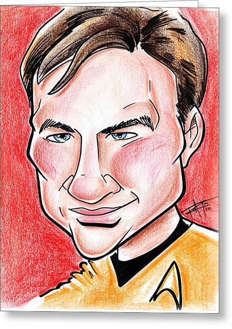 Enterprise Drawings Greeting Cards - Captain James T. Kirk Greeting Card by Big Mike Roate