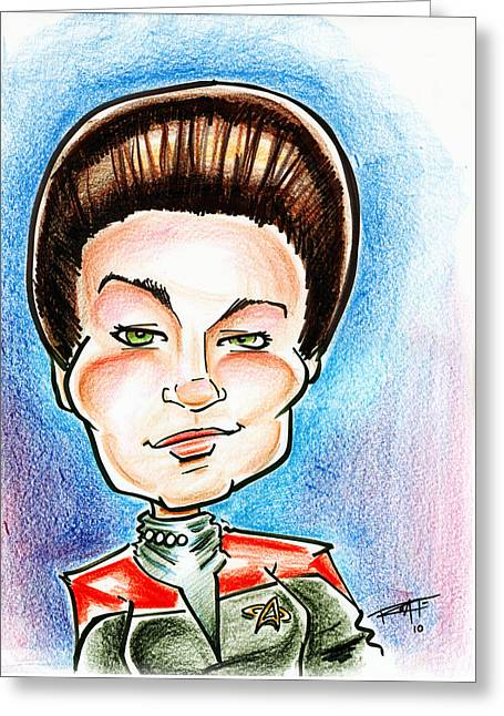 Captain Katherine Drawings Greeting Cards - Captain Jayneway Greeting Card by Big Mike Roate