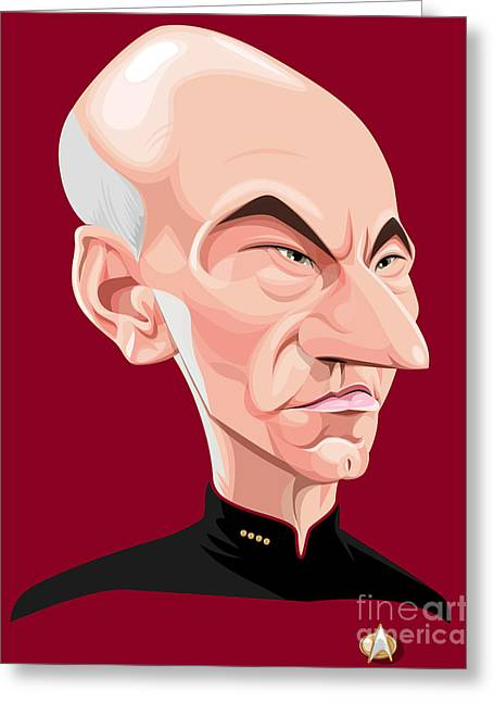 Tng Greeting Cards - Captain Jean Luc Picard Greeting Card by Kevin Greene