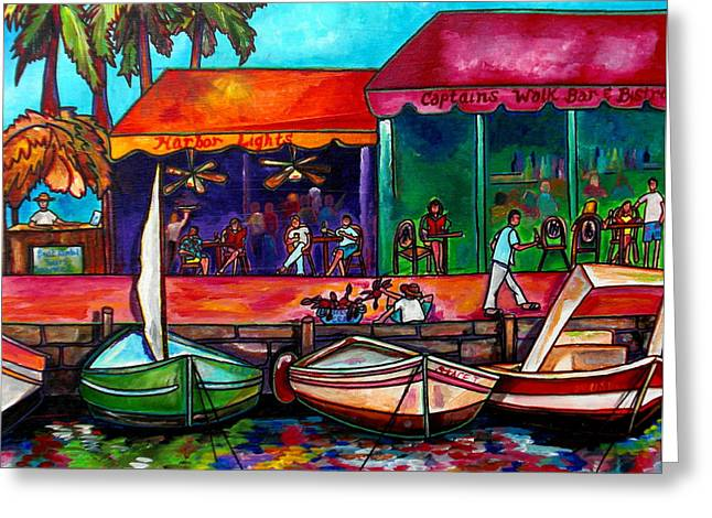 Harbor Paintings Greeting Cards - Captains Walk Greeting Card by Patti Schermerhorn