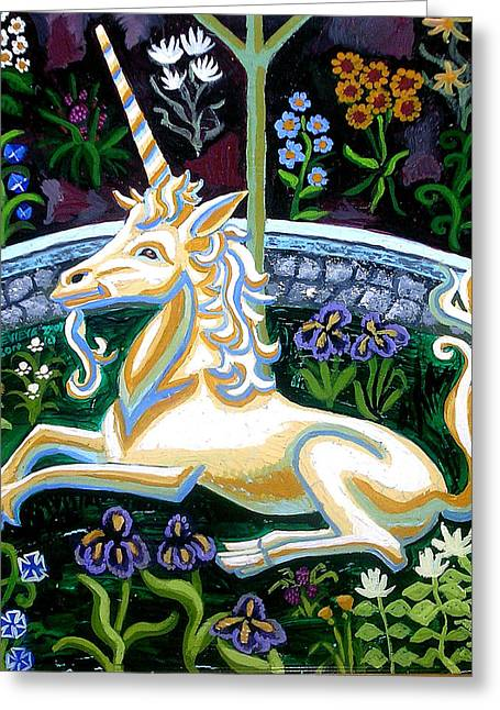 Captive Unicorn Greeting Card by Genevieve Esson