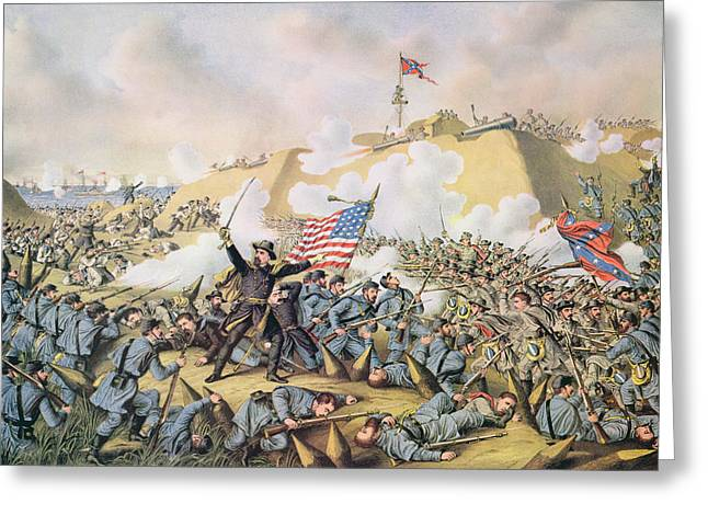 Cape Fear River Greeting Cards - Capture of Fort Fisher 15th January 1865 Greeting Card by American School