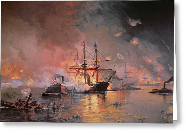 Steam Ship Greeting Cards - Capture of New Orleans by Union Flag Officer David G Farragut Greeting Card by Julian Oliver Davidson