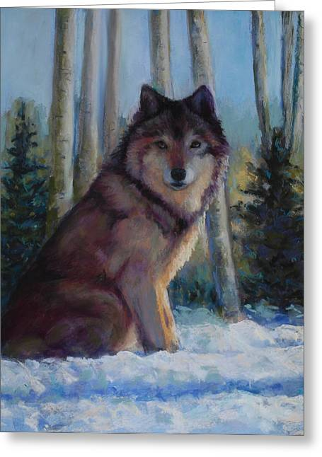 Wolf Pastels Greeting Cards - Captured by the Light Greeting Card by Billie Colson
