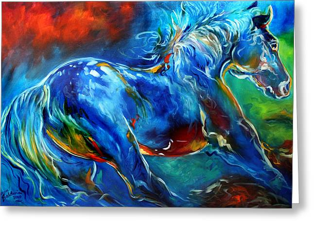 Wild Horse Greeting Cards - Captured Wild Stallion Greeting Card by Marcia Baldwin