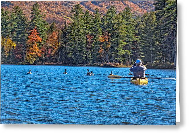 Kayak Greeting Cards - Capturing A Photo On Kayak Greeting Card by Linda Pulvermacher