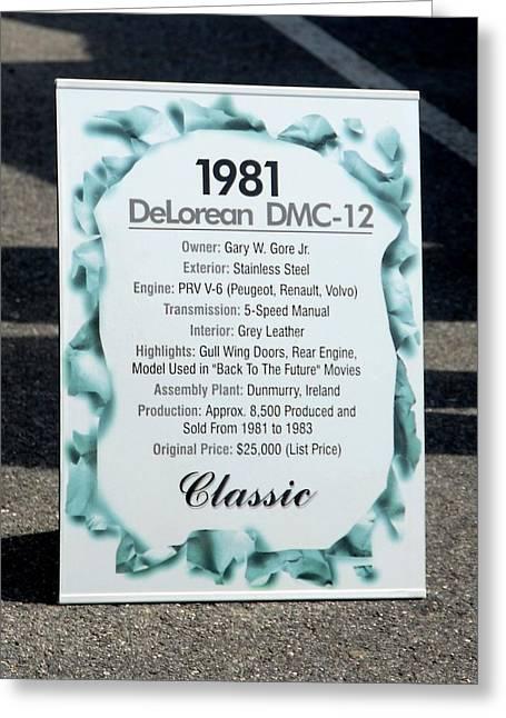 Dmc-12 Greeting Cards - Car 63 Greeting Card by Joyce StJames