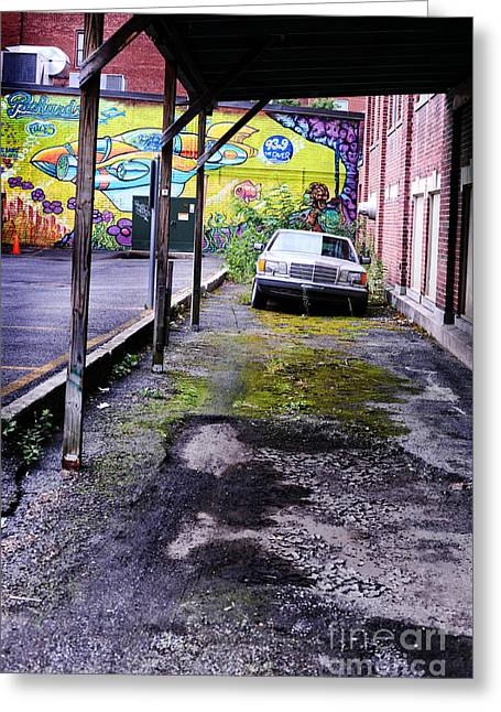 Overhang Photographs Greeting Cards - Car And Street Art Greeting Card by HD Connelly