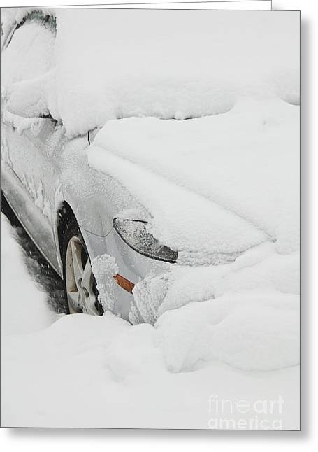 Cars In Winter Greeting Cards - Car buried in snow Greeting Card by Thom Gourley/Flatbread Images, LLC