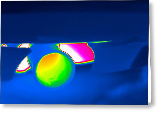 Carbon Dioxide Greeting Cards - Car Exhaust Pipe, Thermogram Greeting Card by Tony Mcconnell
