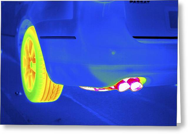 Thermography Greeting Cards - Car Exhaust, Thermogram Greeting Card by Tony Mcconnell