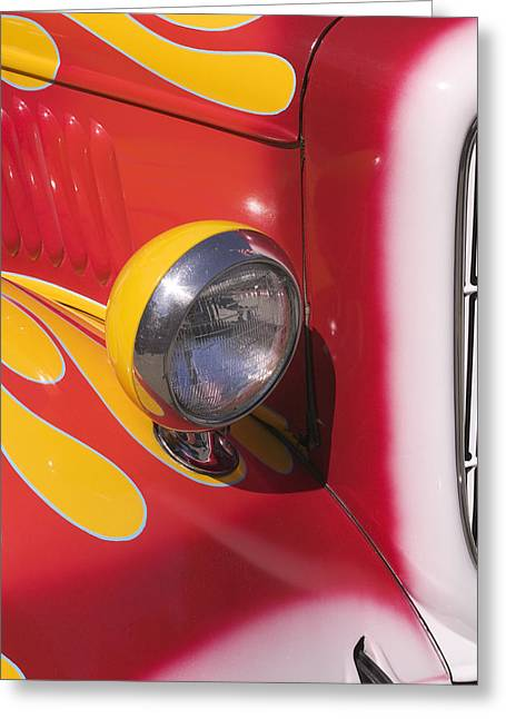 Headlight Greeting Cards - Car headlight Greeting Card by Garry Gay