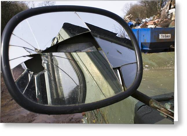 Wing Mirror Greeting Cards - Car In A Scrapyard Greeting Card by Mark Williamson