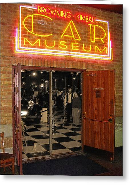 1940s Poster Art Greeting Cards - Car Museum 1 Greeting Card by Steve Ohlsen