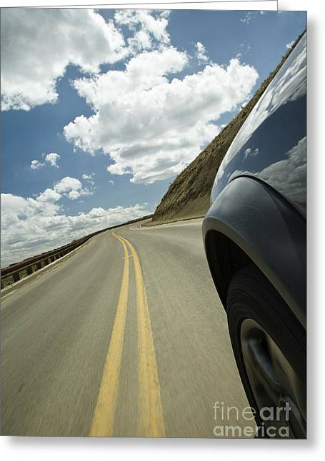 Parts Of Cars Greeting Cards - Car on Roadway Greeting Card by Ned Frisk