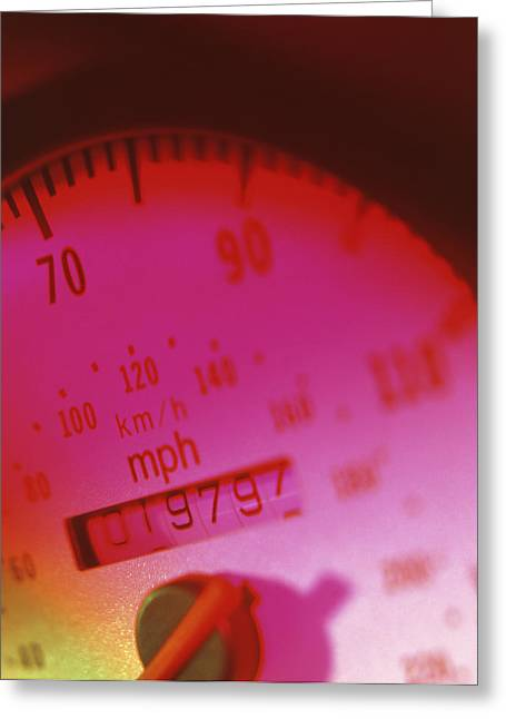 Speedometer Greeting Cards - Car Speedometer With In-built Mileometer Greeting Card by Tek Image