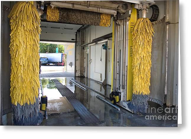 Scrubbing Greeting Cards - Car Wash Interior Greeting Card by Jaak Nilson