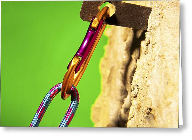 Sporting Equipment Greeting Cards - Carabiner Greeting Card by Johnny Greig