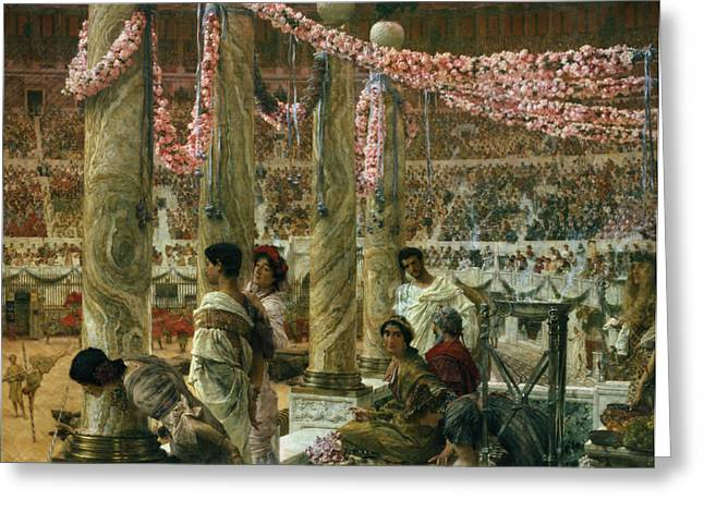 Flower Blossom Greeting Cards - Caracalla and Geta Greeting Card by Sir Lawrence Alma-Tadema