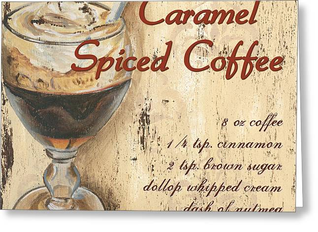 Coffee Paintings Greeting Cards - Caramel Spiced Coffee Greeting Card by Debbie DeWitt