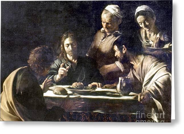 Emmaus Greeting Cards - Caravaggio: Emmaus Greeting Card by Granger